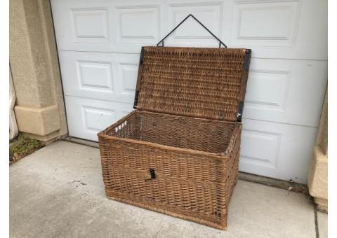Vintage wicker trunk